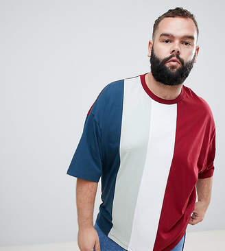 Asos DESIGN Plus oversized t-shirt with vertical color block in burgundy