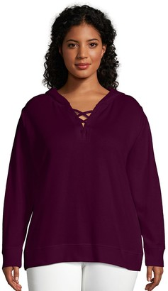 Just My Size Womens Plus-Size Women's French Terry Hoodie with Lace-up Collar