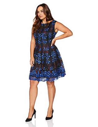 Gabby Skye Women's Plus Size Cap Sleeve Round Neck Lace Fit and Flare Dress