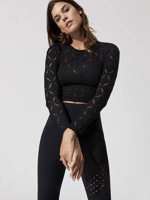 Carbon38 Seamless Eyelet Long Sleeve Crop