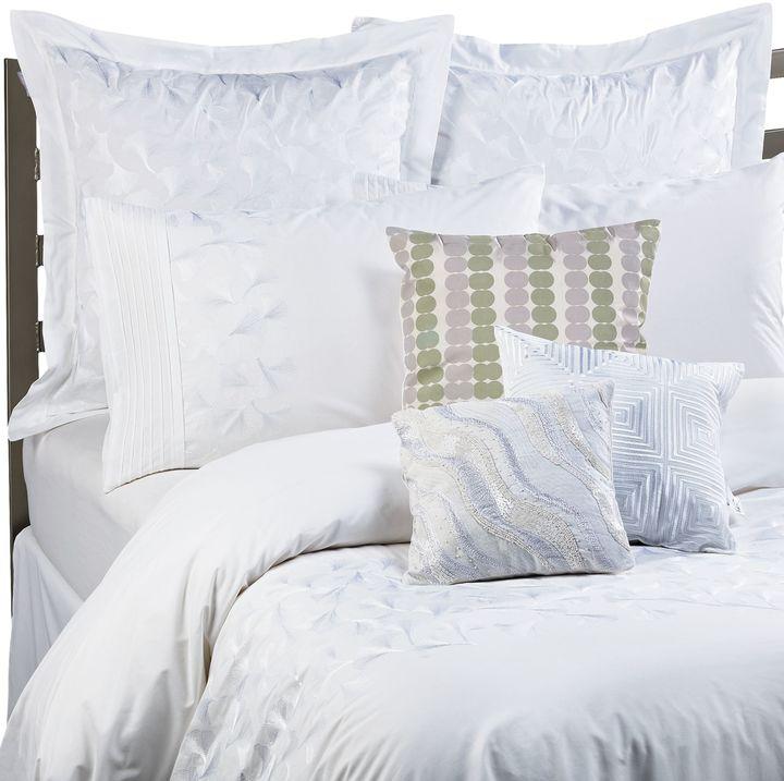 Kas White Ginko Duvet Cover Set, 100% Cotton