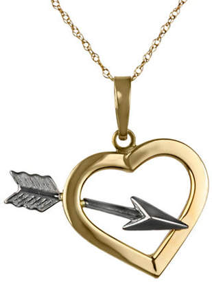 Tag Heuer FINE JEWELLERY 14Kt Two-Tone Heart and Arrow Pendant Necklace