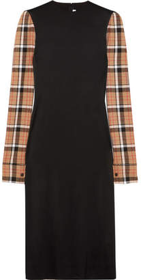 Loewe Checked Wool Blend-paneled Stretch-satin Midi Dress - Black