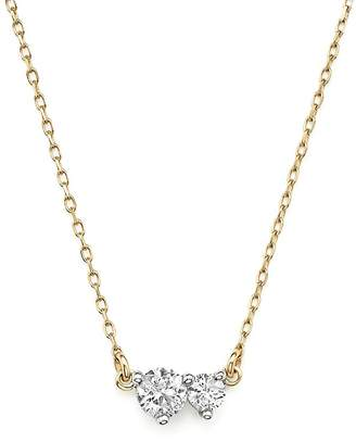 "Adina 14K Yellow Gold Amigos Diamond Two Station Choker Necklace, 14"""
