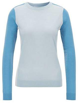 e4d4100a HUGO BOSS Slim-fit sweater in virgin wool with intarsia colourblocking