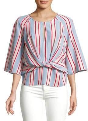 Miss Selfridge Quarter-Sleeve Twist-Front Blouse
