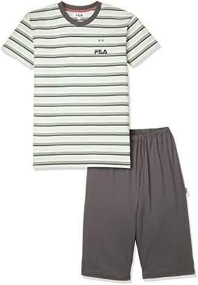 Fila (フィラ) - [フィラ] ボーイズルームウェア 半袖半パンツ 天竺ボーダー/無地 FY3006 グリーン 日本 140 (日本サイズ140 相当)
