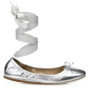 Metallic Leather Ankle-Wrap Ballet Flats