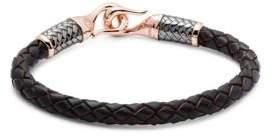 Effy Men's 925 Sterling Silver & Leather Bracelet