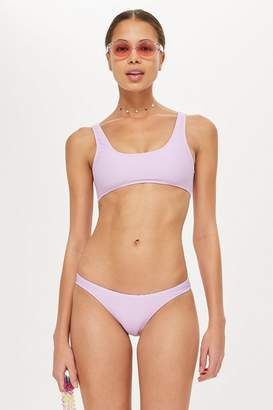 Topshop Ribbed High Leg Bikini Bottoms