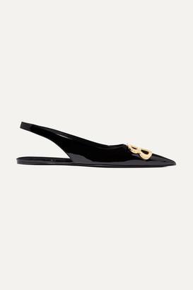 Balenciaga Knife Logo-embellished Patent-leather Point-toe Flats - Black