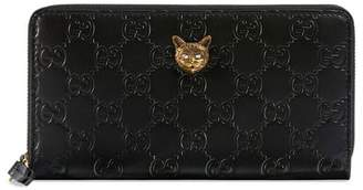 Gucci Signature zip around wallet with cat