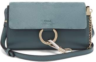 Chloé Faye Small Leather And Suede Cross Body Bag - Womens - Blue