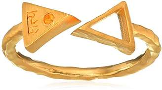 Satya Jewelry Triangle Gold Citrine Sanskrit Ring