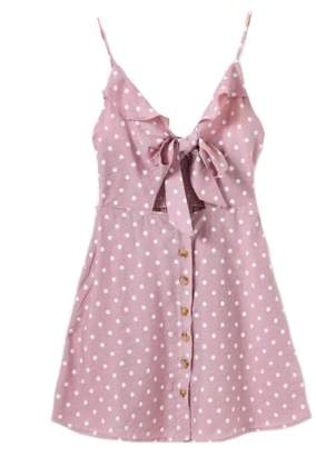 Goodnight Macaroon 'Jade' Polka Dot Cut Out Button Front Sundress (2 Colors)