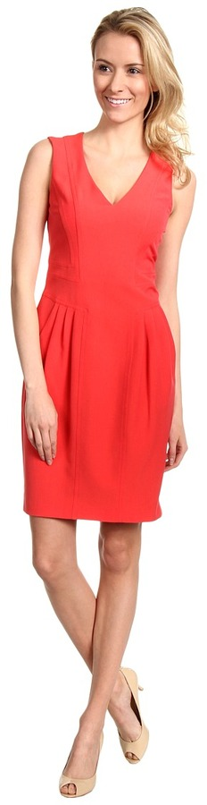 Vince Camuto V-Neck Sleeveless Dress with Topstitching Detail (Coral) - Apparel