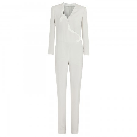 Stella McCartney Silk jumpsuit with trim cut-out - Ivory