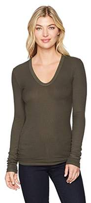 Enza Costa Women's Rib Fitted Long Sleeve U-Neck Top