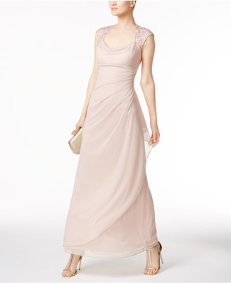 X by Xscape Lace-Trim Ruched Gown $119 thestylecure.com