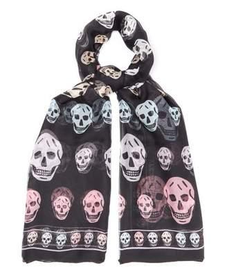 Alexander McQueen Skull Print Silk Scarf - Womens - Black