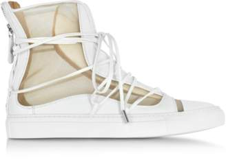 DSQUARED2 Nude Mesh and White Leather High Top Riri Sneakers