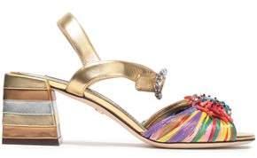 Dolce & Gabbana Embellished Metallic Leather And Raffia Sandals