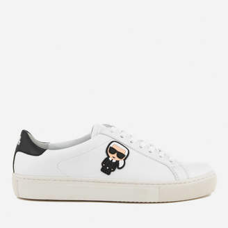 ab67255d0a5 Karl Lagerfeld Paris Women s Kupsole Leather Ikonik Low Lace Trainers -  White