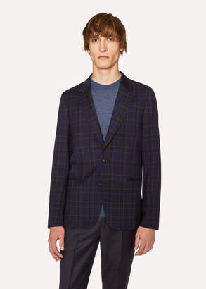 Paul Smith Men's Tailored-Fit Navy And Black Check Unlined Wool-Blend Blazer