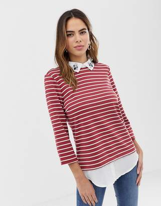 Vila 2-in-1 shirt and stripe top