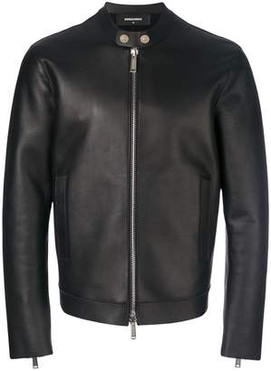 DSQUARED2 collarless leather jacket