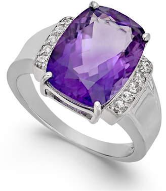 Macy's Amethyst (6 ct. t.w.) & Diamond (1/10 ct. t.w.) Statement Ring in 14k White Gold