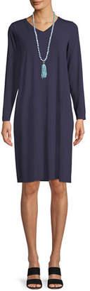 Eileen Fisher Long-Sleeve Viscose Jersey Dress, Plus Size