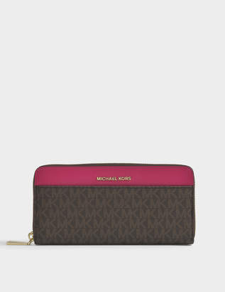 MICHAEL Michael Kors Jet Set Zip Around Continental Wallet in Brown and Ultra Pink Coated Twill
