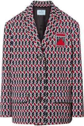 Prada Argyle Intarsia-knit Jacket - Red
