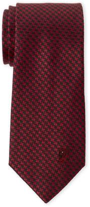 Versace Red Houndstooth Silk Tie