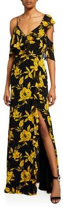 Jay Godfrey Floral-Print Cold Shoulder Asymmetric Ruffle Gown w/ Side Slit