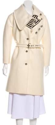 Bouchra Jarrar Wool Knit-Trimmed Knee-Length Coat