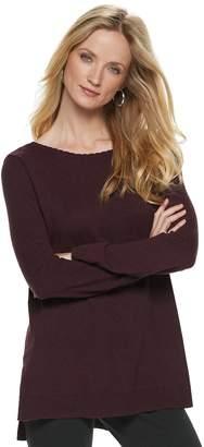 Elle Women's Lace-Trim Bow Tunic Sweater
