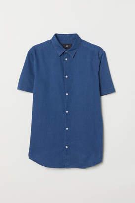 H&M Slim Fit Denim Shirt - Blue