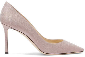 Jimmy Choo Romy 85 Glittered Leather Pumps - Pink