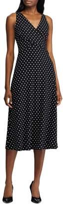 Lauren Ralph Lauren Polka Dot Fit--Flare Midi Dress