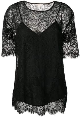 Gold Hawk sheer floral lace top