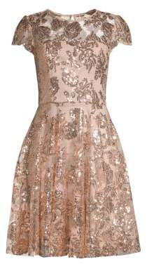 Milly Sequin Embroidered Cocktail Dress