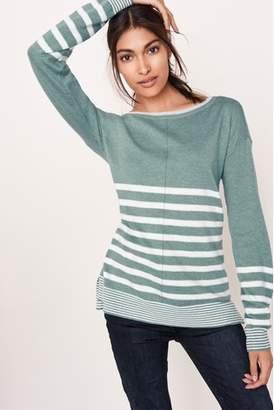 Next Womens Teal Stripe Crew Neck Sweater