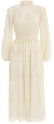 Zimmermann Sabotage Lace Inset Silk Blend Long Sleeve Midi Dress