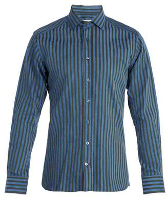 Etro Striped Cotton Shirt - Mens - Green