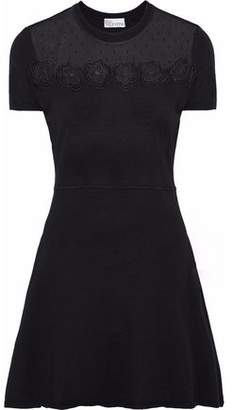 RED Valentino Embroidered Point D'esprit-Paneled Wool Mini Dress
