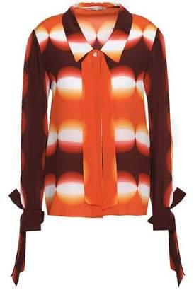 Marco De Vincenzo Embellished Printed Silk-Georgette Shirt