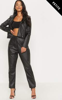 PrettyLittleThing Petite Black Faux Leather Slim Leg Trousers 7a15eca2a