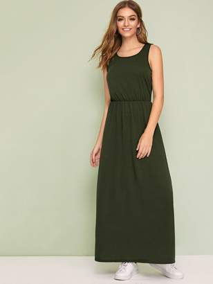 Shein Solid Round Neck Maxi Dress